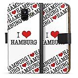 DeinDesign Samsung Galaxy A6 2018 Tasche Leder Flip Case Hülle Hamburg Herz Heart