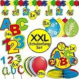 83-teiliges XXL-Deko-Set * EINSCHULUNG & SCHULANFANG * für Jungen und Mädchen zum Schulstart | mit Girlande, Tischdeko, Kerzen, Konfetti, Luftschlangen und vielen Luftballons | ABC Kinder Schule