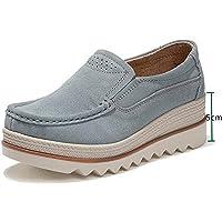 Mocassini Donna in Pelle Scamosciata Moda Comode Loafers Scarpe da Guida Ginnastica con Zeppa 5 cm Estivi Nero Blu Cachi…