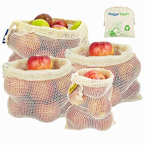 Obst- und Gemüsebeutel - Wiederverwendbar Einkaufstaschen aus Baumwolle/Gemüsenetze Obstbeutel mit Gewichtsangabe 4er Sets Zero-Waste Lebensmittelbeutel | Produzieren Taschen (1*S, 2*M, 1*L)