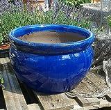 Blumentopf 43 cm Durchmessser, blau glasierte Keramik Steingut Garten Deko Blumenkübel Pflanztopf