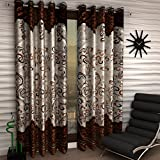 Home Sizzler 4 Piece Eyelet Polyester Window Curtain Set - 5ft, Brown