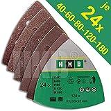 25 St/ück Delta Schleifdreiecke 93x93x93 mm passend f/ür Bosch DIY PDA 180 P60 K/örnung Haft Klett Schleifpapier 6 Loch red Film