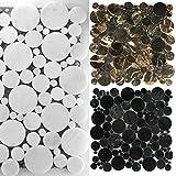 Marmor Naturstein Mosaik Fliesen Round Rund Poliert | Wand-Mosaik | Mosaik-Fliesen | Glas-Mosaik | Fliesen-Bordüre | Ideal für den Wohnbereich und fürs Badezimmer (MUSTER ERHÄLTLICH) (Muster, Weiß)