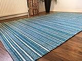 Second Nature Türkis & Weiß Geometric Stripe Hand bevorstand indische Baumwolle Kelim Teppich 120cm x 180cm