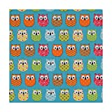 Tissu coton enduit mini hiboux - Bleu & multicolore - Largeur 160 cm- Longueur au choix par 50cm