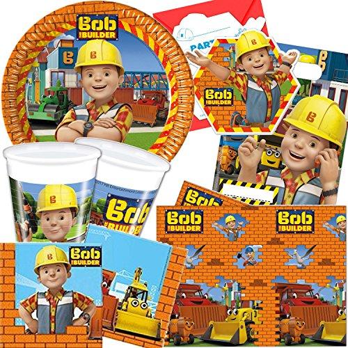 101-teiliges-BOB-DER-BAUMEISTER-Party-Set-fr-Kindergeburtstag-mit-6-8-Kinder-Teller-Becher-Servietten-Einladungen-Partytten-Tischdecke-Luftballons-Luftschlangen-uvm-Motto-Deko-Kinder-Geburtstag-Bauste