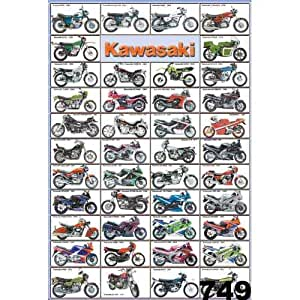 O-749 Kawasaki Japanese Motorcycle, Motorbike, Bike Classic Collections, Decorative Poster Print Vintage New Size: 24 X 35 Inch.