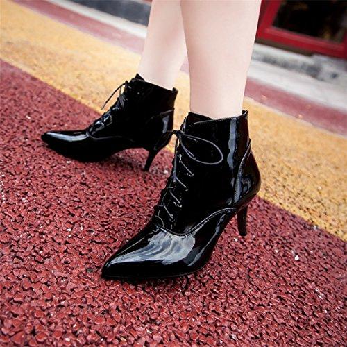 Ye Damen High Heel Ankle Boots Mit Schnursenkel 7cm Absatz Stiletto