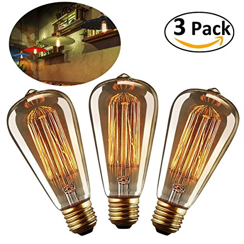 LEORX Edison Bulbs 40W E27 Dimmable Vintage Light Bulbs (3 pack)