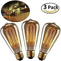 LEORX Edison Bulbs 40W E27 Dimmable Vintage Light Bulbs ST64 220-240V 160lm 2500-2700K Warm White - 3 Pack