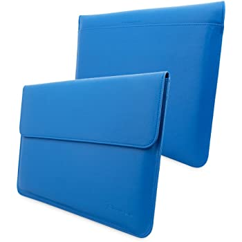 Snugg MacBook Air 13-inch & MacBook Pro 13-inch With Retina Leather Sleeve Case in Electric Blue - High Quality Case with Card Slot Pocket and Premium Nubuck Fibre Interior