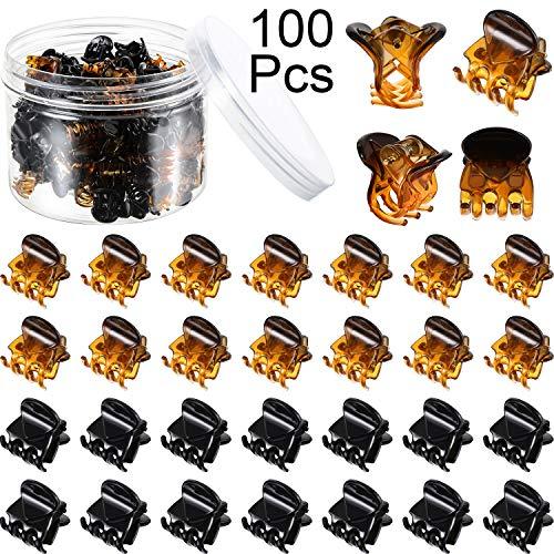 100 Stücke Mini Haarklammern Kunststoff Haarklammern Stifte Klemmen mit Einer Box Kleine Haarklammern für Mädchen und Damen, Schwarz und Braun (Snap Vintage Retro)