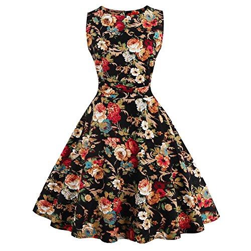 WintCO Robe Plissée Style à Rétro Imprimée Robe Sans Manche avec Ceinture Elégante Skirt en Solde de Voyage Travail Casual Noir