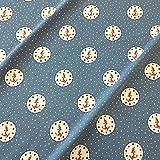 Stoff Baumwolle Jersey Meterware Blau Jeansblau Anker Rot Patch Meer Nordsee Kleiderstoff