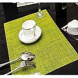 honeysuck Juego de 2PVC impermeable antideslizante almohadilla de mesa aislamiento de calor Pad (verde)
