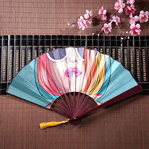 Faltfächer Für Frauen Große Coole Hip Hop Mädchen Gestreiftes T-shirt Hut Sonnenbrille Mit Bambusrahmen Quaste Anhänger Und Stofftasche Faltfächer Handheld Kinder Robust Faltfächer Chinesischer Bambu