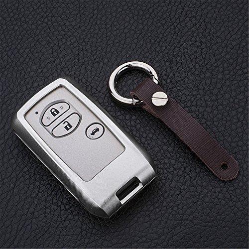 [m. jvisun] Schlüsselanhänger Toyota Schlüsselanhänger Schlüssel, Fernbedienung, passt für Toyota Crown Toyota Land Cruiser Smart Keyless-Start Stop Motor Auto-Schlüssel, Flugzeug Aluminium Spiegel Rückseite Schlüsselanhänger Schutz Hülle, silber
