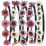 Stirnband Blumen, ZWOOS 5 Stück Stirnbänder Krone Haarband Kopfband Blume Haarbänder mit Elastischem Band für Hochzeit und Party