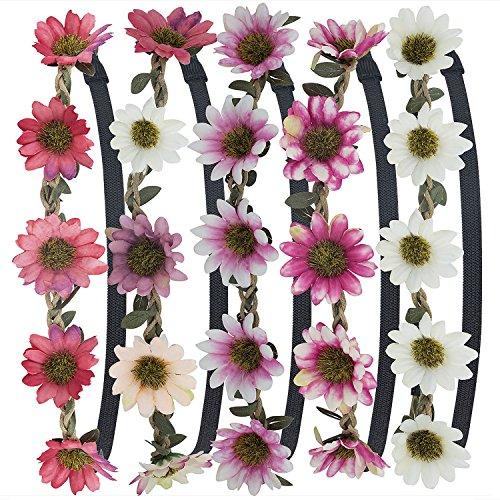 OOS 5 Stück Stirnbänder Krone Haarband Kopfband Blume Haarbänder mit Elastischem Band für Hochzeit und Party (Blume-stirnband)