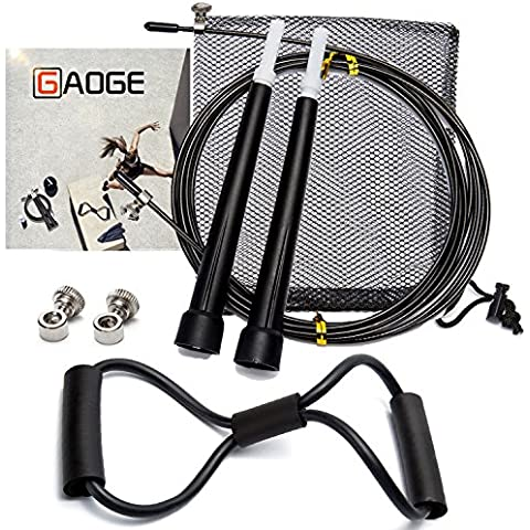 GAOGE Jump Rope With free Resistance Bands Training Crossfit Fitness-rope skipping - rogue fitness-master of muscle jump-outdoor fitness equipment-Best for Crossfit, Double Unders MMA, Boxing by GAOGE