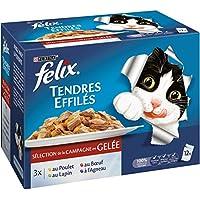 Felix Tendres Effilés en Gelée Viandes - 12 x 100 g - Sachets repas pour Chat Adulte - Lot de 6