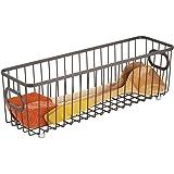 mDesign panier de rangement en métal – boîte en métal flexible pour la cuisine, le garde-manger, etc. – panier en métal compa