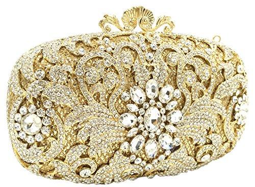 Borsa Con Strass Pochette Donna Sera Borsetta Portafoglio Festa Cerimonia Frizioni Matrimonio Oro Gold