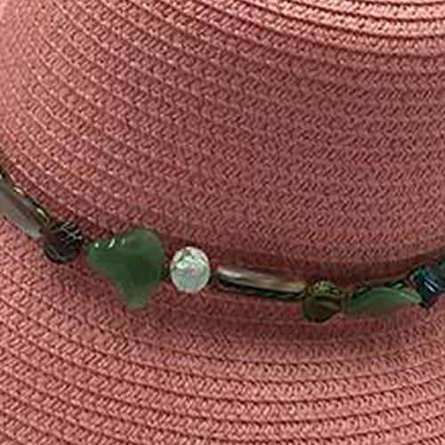 Surke Summer Fashion Straw Womens Summer Beach Sun Hat Bleu