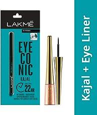 Lakme Eyeconic Kajal, Black, 0.35g with Lakme 9 to 5 Impact Eye Liner, Black, 3.5ml