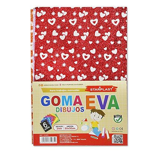 131975 - Goma eva con purpurina y dibujos, tamaño A4, 12 hojas, 2mm de grosor