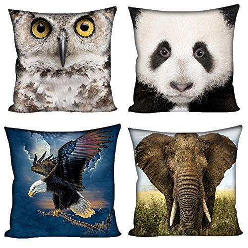 coloranimal 45cm x 45cm Set von 4Überwurf Kissen Case Square Kissen, Owl Panda, 18inchx18inch Owl Decke Werfen