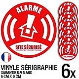 Lot de 6 autocollants / stickers Alarme sécurité / 6 cm