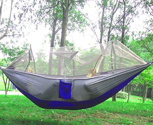 Camping Hängematte mit Moskitonetz tragbar Outdoor Bett robust Hammock aus Fallschirmseide max. Belastbarkeit 200kg