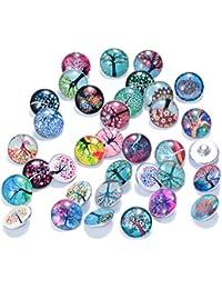 soleebee Árbol de la vida de aleación de cristal 18mm Snap botones joyería charms pack de 36pcs