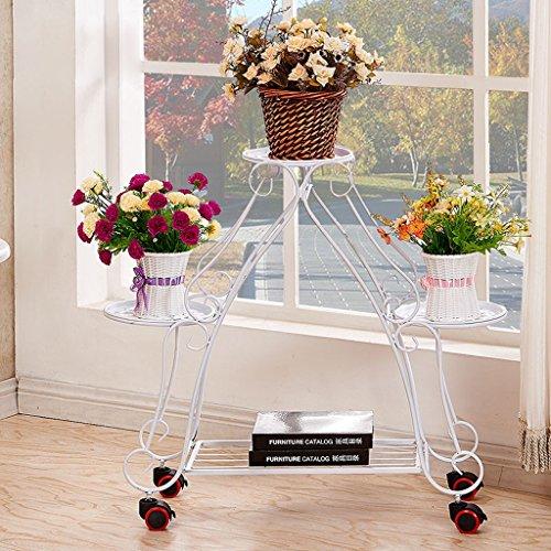Amour light scaffale con fioriera a più livelli con scaffale per fiori con ruote stile di atterraggio (colore : bianca)