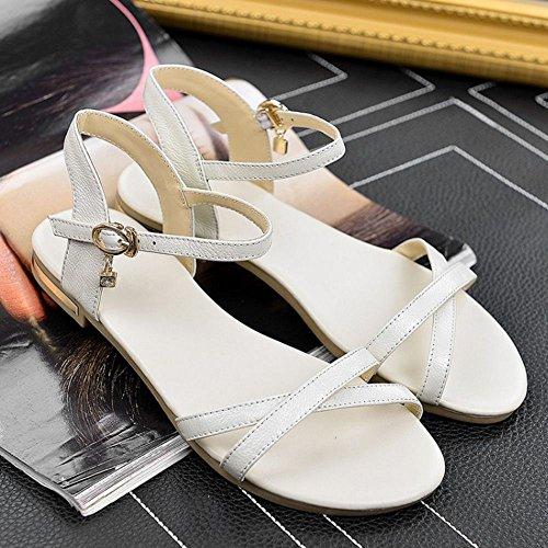 RAZAMAZA Femmes Orteil ouvert Plat Sandales Sandals Chaussures de plage Blanc