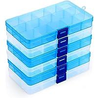 Lot de 6 Boîte de Rangement Plastique,15 Grilles Diviseurs à Compartiments Ajustables Boîte de Organisateur Contenants…