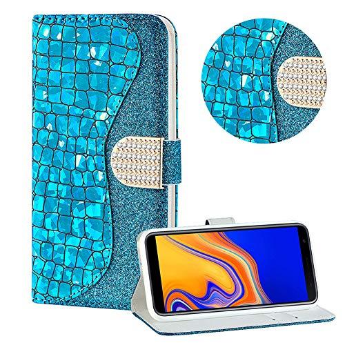 Diamant Brieftasche Hülle für Galaxy J4 Plus 2018,Blau Wallet Handyhülle für Galaxy J4 Plus 2018,Moiky Ultra Dünn Stilvoll Laser Glitzer Farbe Block Klappbar Stand Silikon Handytasche