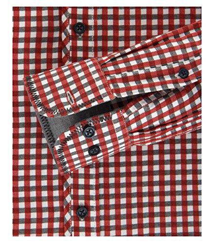 Casa Moda - Casual Fit - Herren Karo Twill Hemd mit Kent Kragen (462603000 A) Rot (400)