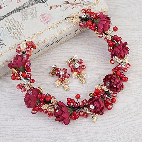 d waschen Make up Haargummis Europäische und amerikanische glamouröse Wein rote Blumen Brautkranz weiche Blume Krone verheiratet Haarreife Haarschmuck Stirnband Kopftuch ()