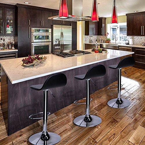 Sgabello Girevole Ed Altezza Regolabile con Poggiapiedi per Casa Design Elegante Moderno 2 Pz Sgabelli da Bar Cucina Sedia in Ecopelle con Schienale Colore Bianco EGLEMTEK Higigi