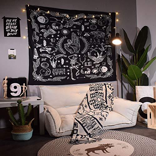 LONJXJ Gala Persönlichkeit B & B hängt ethnischen Stil Hintergrund Tuch Ins Zimmer Schlafzimmer Dekoration Schwarz-Weiß-Wandverkleidung Gobelin
