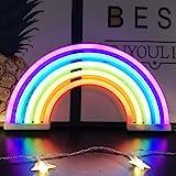 Veilleuse arc-en-ciel pour enfants Cadeau de Noël LED arc-en-ciel Neon Signs Lampe pour décoration murale, décoration de cham