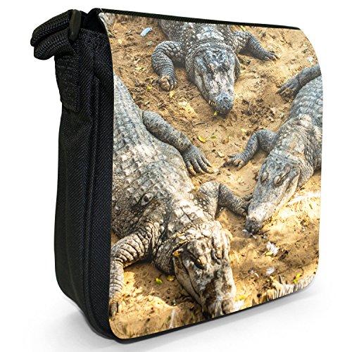 Caimani, coccodrilli &-Borsa a tracolla in tela, colore: nero, taglia: S Nero (Crocodile / Alligator Group)