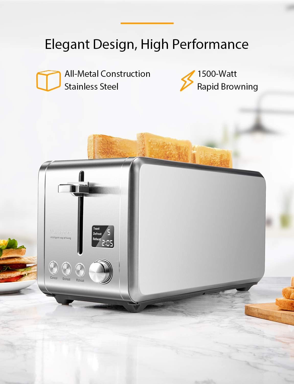 Toaster-4-Scheiben-Willsence-Toaster-Edelstahl-mit-LCD-Display-Countdown-Anzeige-9-Brunungsstufen-und-6-Voreingestellten-Programmen-Extra-Breite-Steckpltze