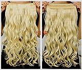 """¡La más vendida! Buena calidad 5 clips 20 """"sintético largo ondulado / rizado un pedazo del clip en las extensiones del pelo Hairpieces 3/4 de clip principal completo en extensiones del pelo"""