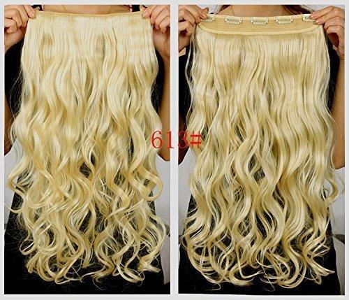 ¡La más vendida! Buena calidad 5 clips 20 'sintético largo ondulado / rizado un pedazo del clip en las extensiones del pelo Hairpieces 3/4 de clip principal completo en extensiones del pelo