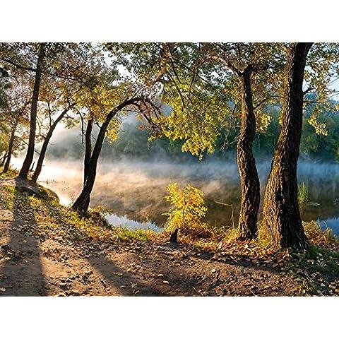 Bosques - Árboles En La Orilla Del Río Al Amanecer, 2 Partes Fotomural Autoadhesivo (240 x 180cm)