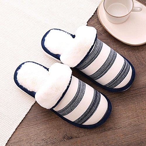 Chaussures en peluche Automne et hiver Stripe Pantoufles en coton Conserver à l'épreuve des chaussures Anti-dérapant résistant à l'usure Pack toe Couple Home Indoor Pantoufle / paquet de 2